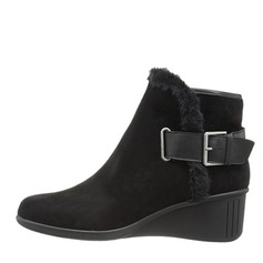 Women's Suede Wedge Heel Closed Toe Ankle Boots With Buckle shoes