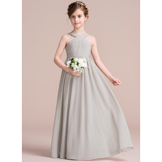 A-Line/Princess V-neck Floor-Length Chiffon Junior Bridesmaid Dress With Ruffle Bow(s) (009097070)