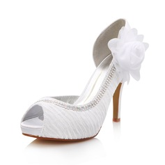 Women's Silk Like Satin Cone Heel Peep Toe Platform Sandals With Rhinestone Satin Flower