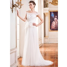 A-Line/Princess Off-the-Shoulder Court Train Tulle Wedding Dress With Beading Flower(s) Sequins