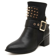 Women's Leatherette Chunky Heel Pumps Platform Closed Toe Boots Ankle Boots With Rivet Buckle shoes