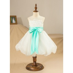 A-Line/Princess Knee-length Flower Girl Dress - Organza/Satin/Tulle Sleeveless Jewel With Sash/Appliques/Bow(s)