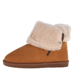 Women's Suede Flat Heel Pumps Closed Toe Boots Ankle Boots Snow Boots With Fur shoes