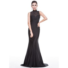 Trumpet/Mermaid High Neck Sweep Train Jersey Evening Dress