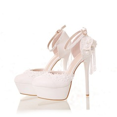 Women's Leatherette Stiletto Heel Closed Toe Platform Pumps Sandals With Beading Flower Lace-up Tassel Braided Strap