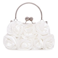Gorgeous Silk With Flower Clutches/Top Handle Bags