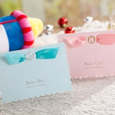 Baby Boy/Girl Top Fold Invitation Cards With Ribbons