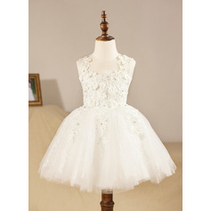 Ball Gown Knee-length Flower Girl Dress - Tulle Sleeveless Scoop Neck With Appliques