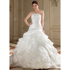 A-Line/Princess Strapless Chapel Train Taffeta Wedding Dress With Embroidered Ruffle Beading Sequins