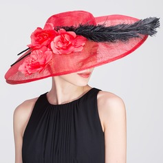 Ladies' Eye-catching Spring/Summer Cambric With Feather Bowler/Cloche Hat