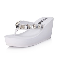 Women's Leatherette Wedge Heel Sandals Flip-Flops With Rhinestone shoes