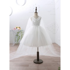 Ball Gown Knee-length/Watteau Train Flower Girl Dress - Satin/Tulle Sleeveless V-neck With Beading/Appliques