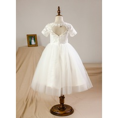 Ball Gown Knee-length Flower Girl Dress - Tulle/Lace Short Sleeves Scoop Neck With Back Hole