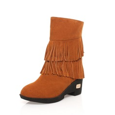 Real Leather Wedge Heel Ankle Boots With Tassel shoes