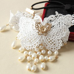 Simple Butterfly Imitation Pearls/Lace Forehead Jewelry/Headbands