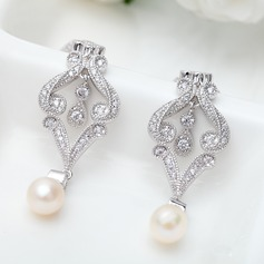 Luxurious Copper/Zircon/Platinum Plated With Imitation Pearls Women's/Ladies' Earrings (011091468)