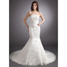 Trumpet/Mermaid Strapless Chapel Train Satin Wedding Dress With Beading Appliques Lace Sequins