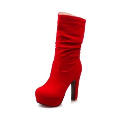 Women's Suede Stiletto Heel Boots Mid-Calf Boots shoes