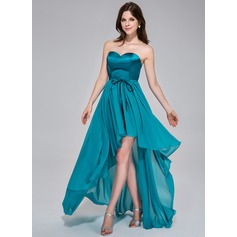 A-Line/Princess Sweetheart Asymmetrical Chiffon Charmeuse Holiday Dress With Ruffle Bow(s)