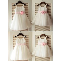 A-Line/Princess Knee-length Flower Girl Dress - Tulle/Sequined Sleeveless Straps With Flower(s)