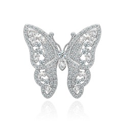 "Butterfly Shaped Copper/Platinum plating/""AAA"" Level Zircon Women's/Ladies' Brooch"