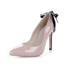 Patent Leather Stiletto Heel Pumps Closed Toe With Bowknot shoes