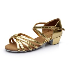 Women's Kids' Leatherette Heels Sandals Latin With Ankle Strap Dance Shoes