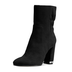 Women's Suede Chunky Heel Boots Mid-Calf Boots shoes (088098162)