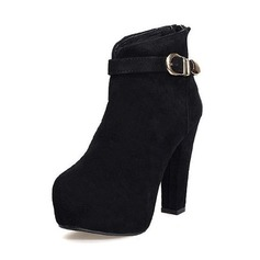 Suede Chunky Heel Platform Ankle Boots With Buckle shoes