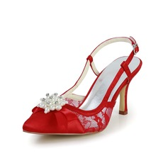 Women's Satin Spool Heel Peep Toe Sandals Slingbacks With Imitation Pearl
