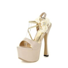 Satin Spool Heel Sandals Platform With Satin Flower shoes
