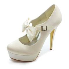Satin Stiletto Heel Closed Toe Platform Pumps Wedding Shoes With Bowknot Buckle (047017781)