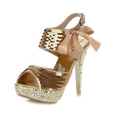 Satin Stiletto Heel Platform Sandals With Sequin Lace-up (087023666)
