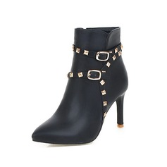 Women's Leatherette Stiletto Heel Ankle Boots Martin Boots With Rivet Chain shoes