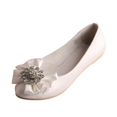 Women's Satin Flat Heel Closed Toe With Rhinestone