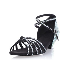Women's Satin Sandals Pumps Latin Ballroom Salsa With Imitation Pearl Rhinestone Ankle Strap Buckle Dance Shoes