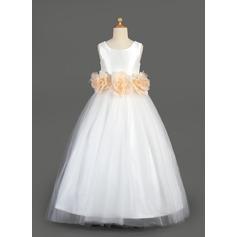 Forme Princesse Longueur ras du sol Robes à Fleurs pour Filles - Taffeta/Tulle Sans manches Col rond avec Ceintures/Fleur(s)