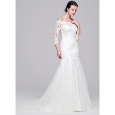 Trumpet/Mermaid Off-the-Shoulder Sweep Train Tulle Lace Wedding Dress
