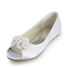 Satin Flat Heel Peep Toe Wedding Shoes With Satin Flower (047020125)