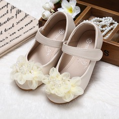 Kids' Leatherette Flat Heel Closed Toe Flats With Imitation Pearl Flower