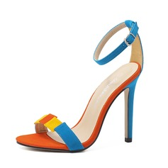 Women's Suede Stiletto Heel Sandals shoes (087087471)