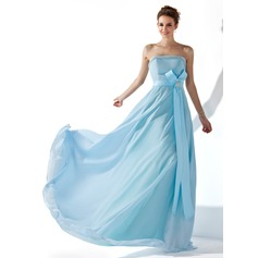 A-Line/Princess Strapless Floor-Length Chiffon Evening Dress With Ruffle Beading Crystal Brooch