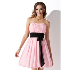 Empire Sweetheart Short/Mini Chiffon Bridesmaid Dress With Ruffle Sash Bow(s)