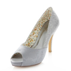 Women's Satin Sparkling Glitter Stiletto Heel Peep Toe Pumps