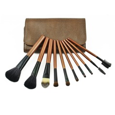 10 Pcs Makeup Brush Set With Snake Skin Pouch
