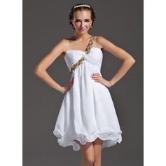 Empire One-Shoulder Short/Mini Chiffon Homecoming Dress With Ruffle Beading Appliques Lace Sequins