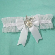 Delicate Satin Organza With Bowknot Rhinestone Wedding Garters