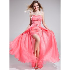 A-Line/Princess Sweetheart Asymmetrical Detachable Organza Lace Prom Dress With Beading Sequins