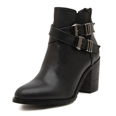 Leatherette Chunky Heel Pumps Closed Toe Boots Ankle Boots With Buckle shoes
