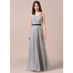 A-Line/Princess Sweetheart Floor-Length Chiffon Bridesmaid Dress With Ruffle Sash